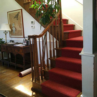 Custom stair runner project completed by Healdsburg Floor Coverings Abbey Design Center!